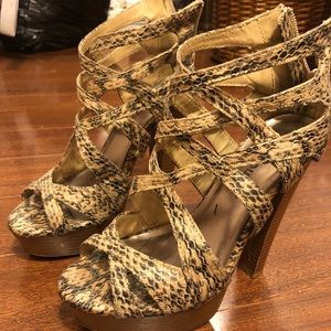 Dollhouse Snake Print Heels